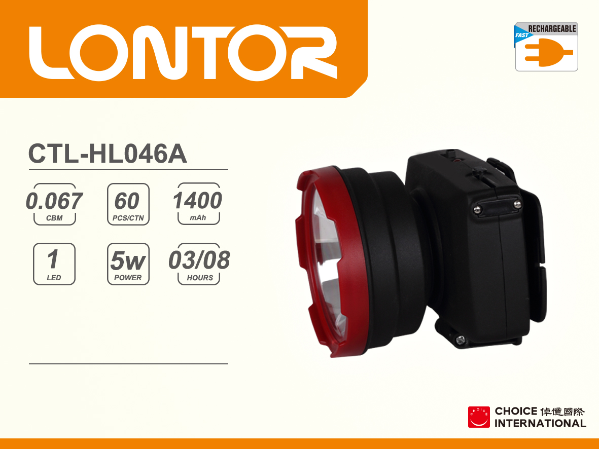 Rechargeable Head Light CTL-HL046A