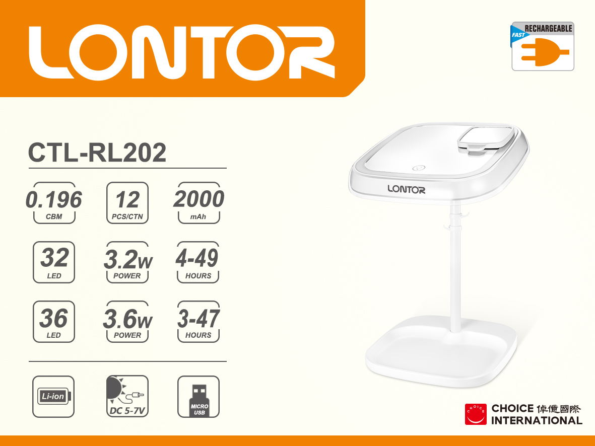 Rechargeable Reading Lamp  CTL-RL202