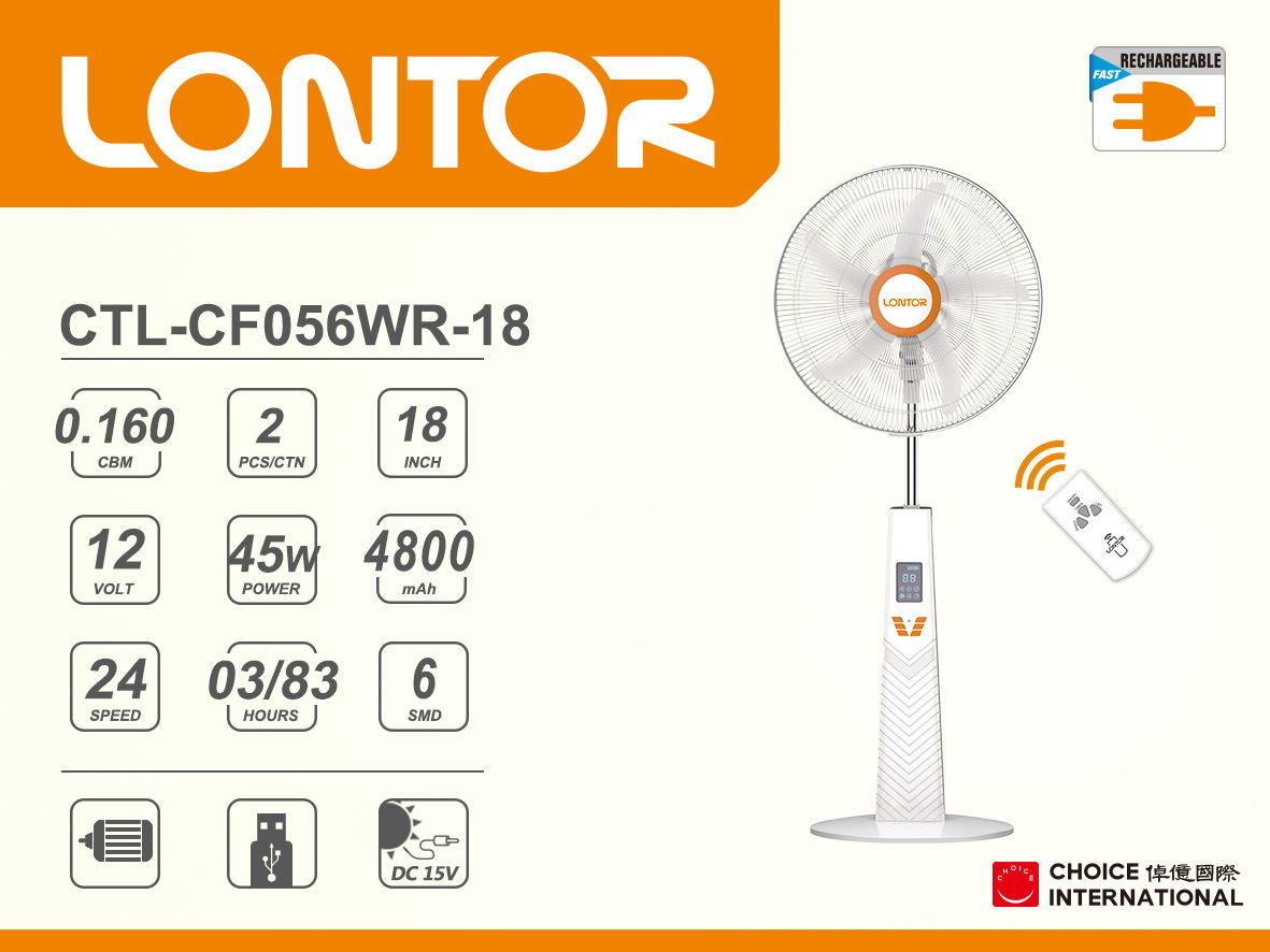 Rechargeable Electric Fan CTL-CF056WR-18