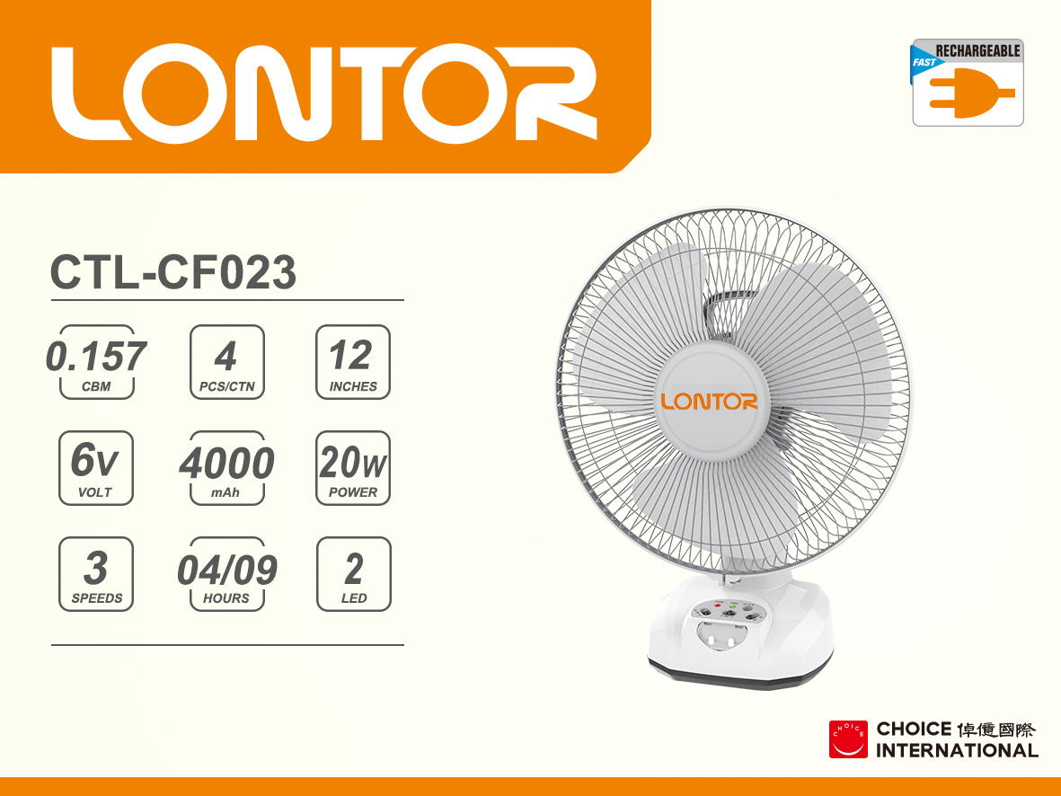 Rechargeable Electric Fan CTL-CF023